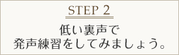 STEP2 低い裏声で発声練習をしてみましょう